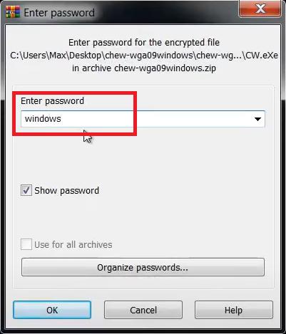Password for unzip ChewWGA - windows