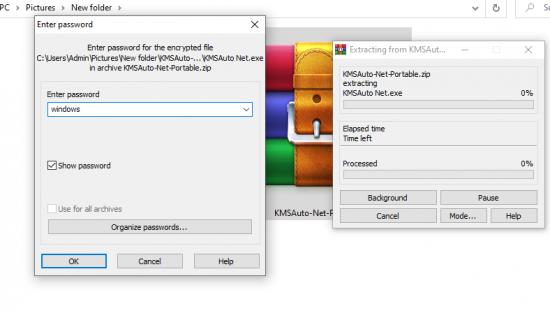 KMSAuto Lite, password for unzip - windows