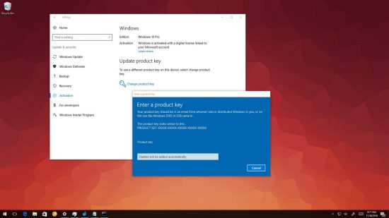 Enter a product key Windows 10